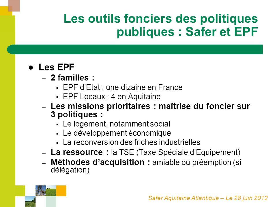 Safer Aquitaine Atlantique – Le 28 juin 2012 Les outils fonciers des politiques publiques : Safer et EPF Les EPF – 2 familles : EPF dEtat : une dizain