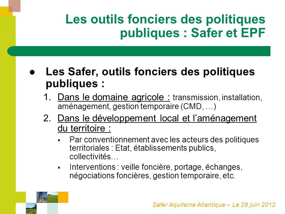 Safer Aquitaine Atlantique – Le 28 juin 2012 Les outils fonciers des politiques publiques : Safer et EPF Les Safer, outils fonciers des politiques pub