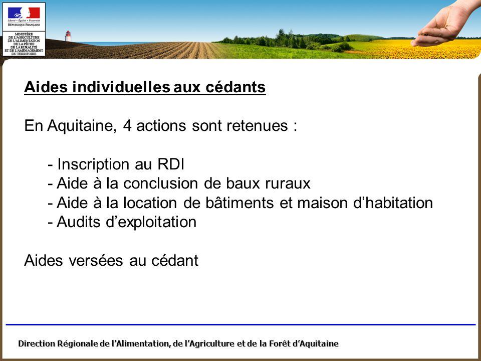 Direction Régionale de lAlimentation, de lAgriculture et de la Forêt dAquitaine Animation – Communication - Repérage - Actions très diverses, portées par les chambres dagriculture, syndicats, associations, etc.