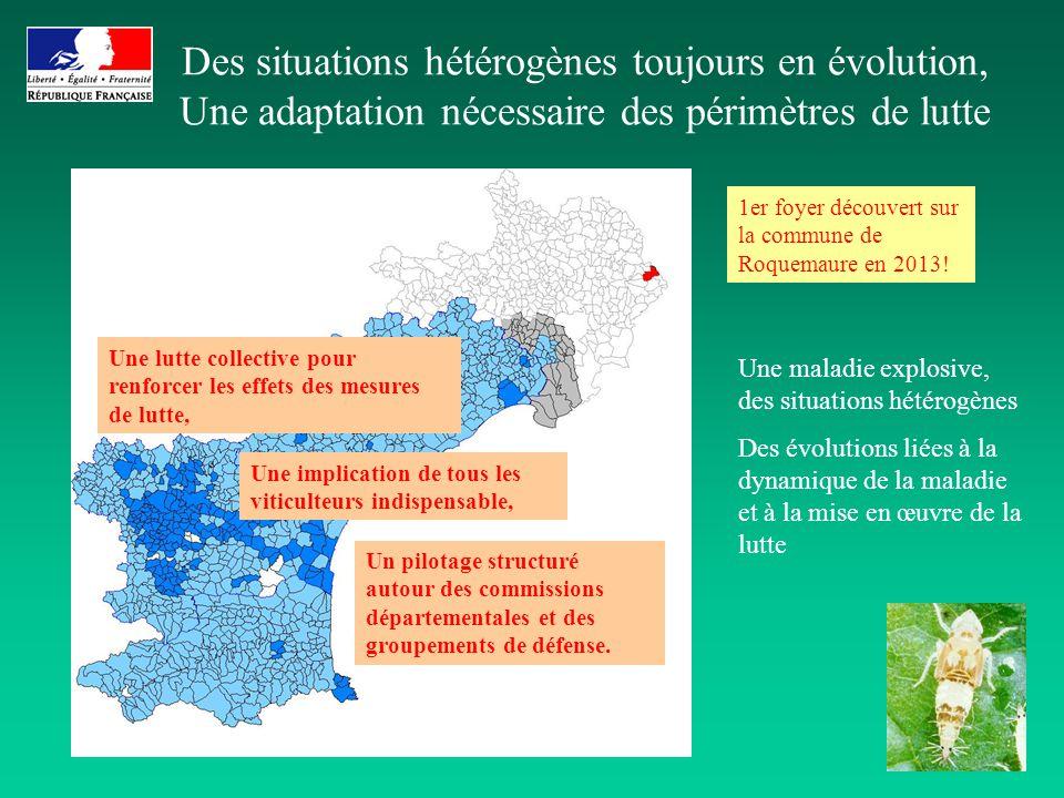 Des situations hétérogènes toujours en évolution, Une adaptation nécessaire des périmètres de lutte Une maladie explosive, des situations hétérogènes
