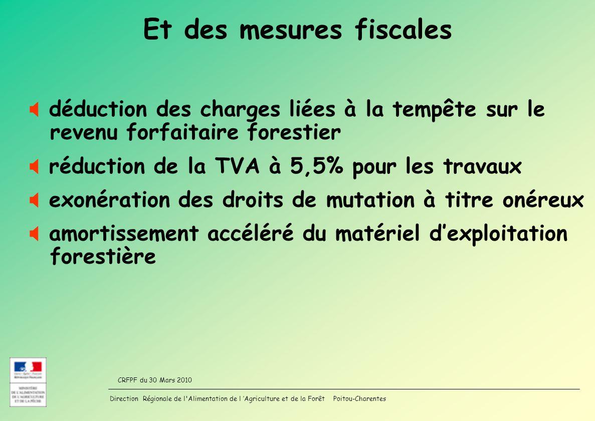 Direction Régionale de l'Alimentation de l Agriculture et de la Forêt Poitou-Charentes CRFPF du 30 Mars 2010 Et des mesures fiscales déduction des cha