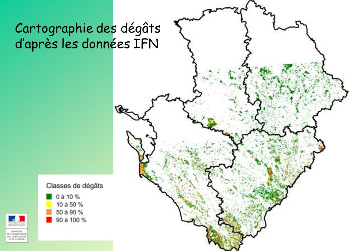Direction Régionale de l Alimentation de l Agriculture et de la Forêt Poitou-Charentes CRFPF du 30 Mars 2010 Cartographie des dégâts daprès les données IFN