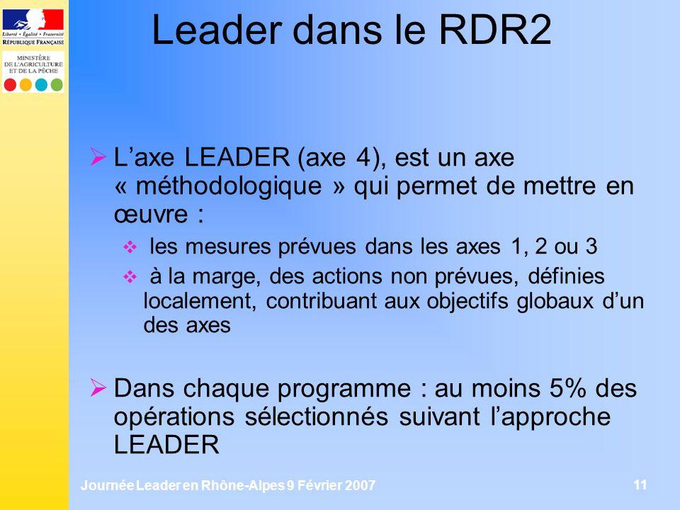 Journée Leader en Rhône-Alpes 9 Février 2007 11 Leader dans le RDR2 Laxe LEADER (axe 4), est un axe « méthodologique » qui permet de mettre en œuvre :