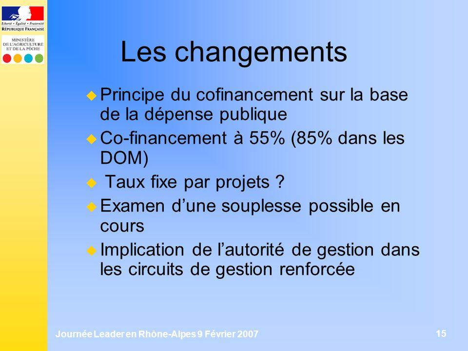 Journée Leader en Rhône-Alpes 9 Février 2007 15 Les changements Principe du cofinancement sur la base de la dépense publique Co-financement à 55% (85%