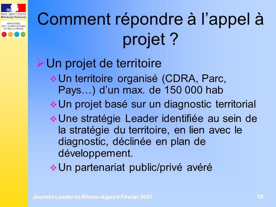 Journée Leader en Rhône-Alpes 9 Février 2007 18 Comment répondre à lappel à projet ? Un projet de territoire Un territoire organisé (CDRA, Parc, Pays…