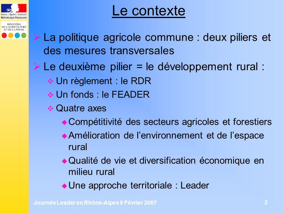 Journée Leader en Rhône-Alpes 9 Février 2007 3 Le cadre en France Le RDR propose un certain nombre de mesures Exemples : Axe 1 : mesures pour les agriculteurs (formation, qualité…) Axe 2 : Conversion à lagriculture biologique… Axe 3 : Promotion des activités touristiques… Axe 4 : Combinaison des possibilités axes 1, 2, 3