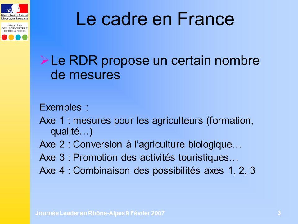 Journée Leader en Rhône-Alpes 9 Février 2007 3 Le cadre en France Le RDR propose un certain nombre de mesures Exemples : Axe 1 : mesures pour les agri