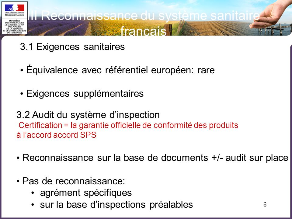 6 III Reconnaissance du système sanitaire français 3.2 Audit du système dinspection Certification = la garantie officielle de conformité des produits à laccord accord SPS Reconnaissance sur la base de documents +/- audit sur place Pas de reconnaissance: agrément spécifiques sur la base dinspections préalables 3.1 Exigences sanitaires Équivalence avec référentiel européen: rare Exigences supplémentaires