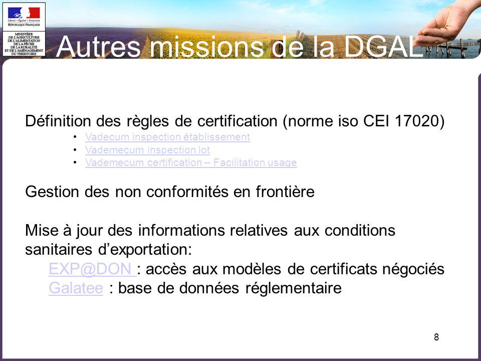8 Autres missions de la DGAL Définition des règles de certification (norme iso CEI 17020) Vadecum inspection établissement Vademecum inspection lot Va
