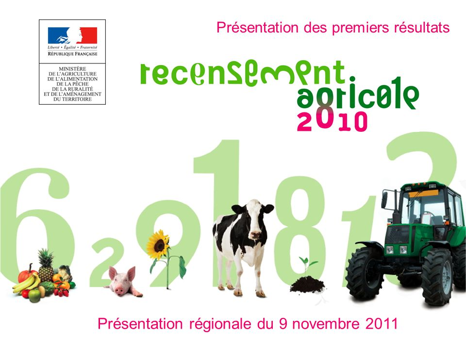 Le recensement agricole 2010 : quelques rappels Une photographie précise de lagriculture régionale Réalisée tous les 10 ans par le service statistique régional du Ministère en charge de lagriculture.