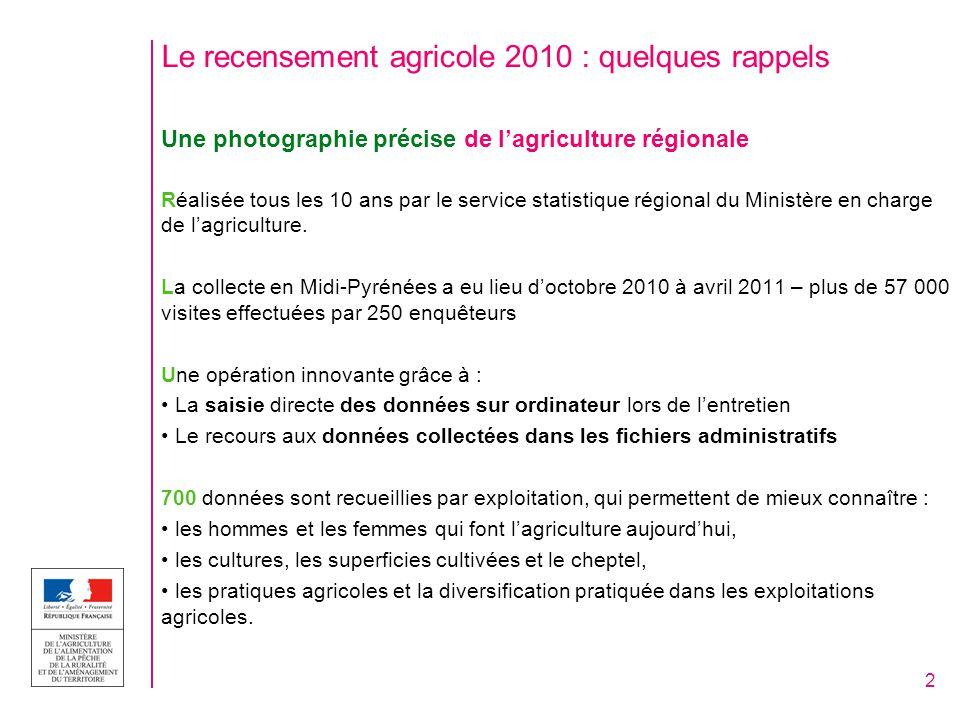 Premiers chiffres clés de Midi-Pyrénées 1ère région agricole par le nombre dexploitations : 47 600 – une exploitation sur cinq en moins depuis 2000 (-25% au niveau national) 2ème région par la surface agricole utilisée - SAU (après le Centre) : 2,3 millions dhectares – disparition de 3% (comme au niveau national) = environ 69 000 hectares en moins en 10 ans 84 000 personnes impliquées (baisse de 24% en région / -21% au plan national) – avec les IAA 1er employeur de la région Midi-Pyrénées, une région qui compte : - 1 ère pour les effectifs de brebis laitières et nourrices - 2 ème pour les effectifs de canards gras et à gaver - 4 ème pour le cheptel de bovins viande - 1 ère sur les surfaces en blé dur et 2ème en maïs grain - 1 ère sur les surfaces de pomme de table - 2 ème sur les surfaces de prunes de table 3