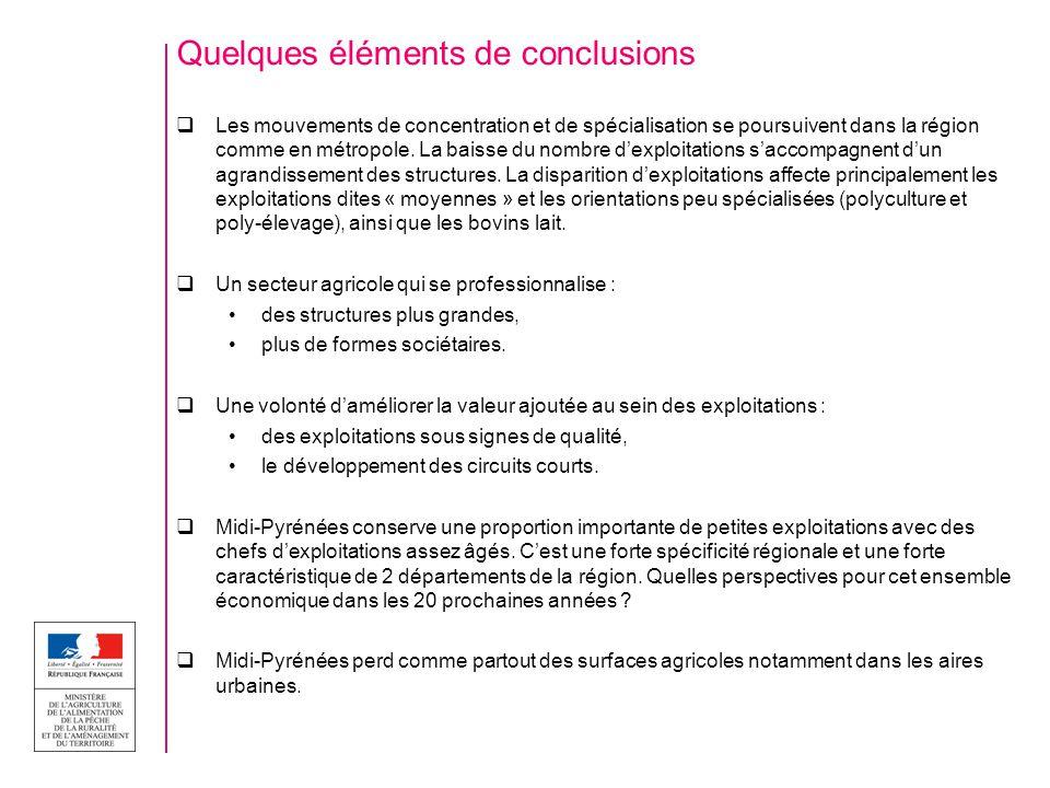 Quelques éléments de conclusions Les mouvements de concentration et de spécialisation se poursuivent dans la région comme en métropole.