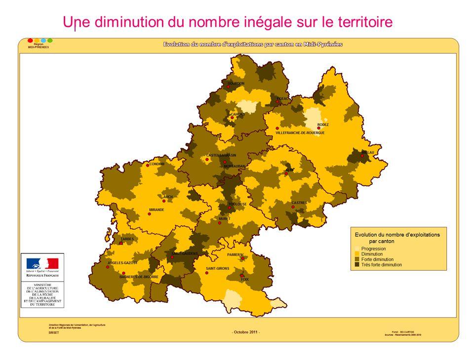 Une diminution du nombre inégale sur le territoire