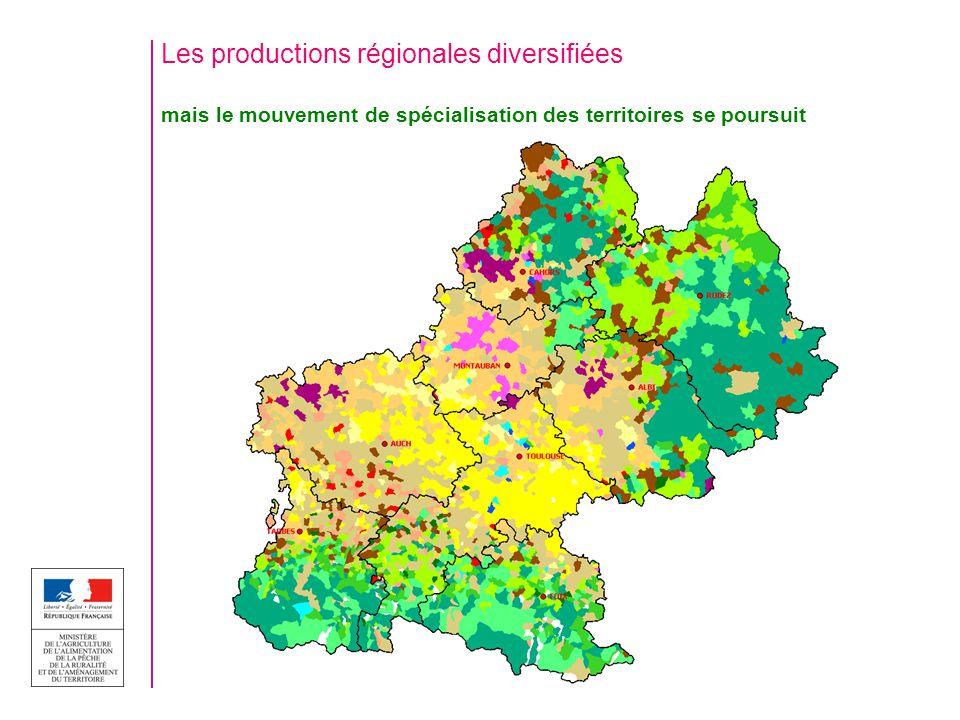 Les productions régionales diversifiées mais le mouvement de spécialisation des territoires se poursuit