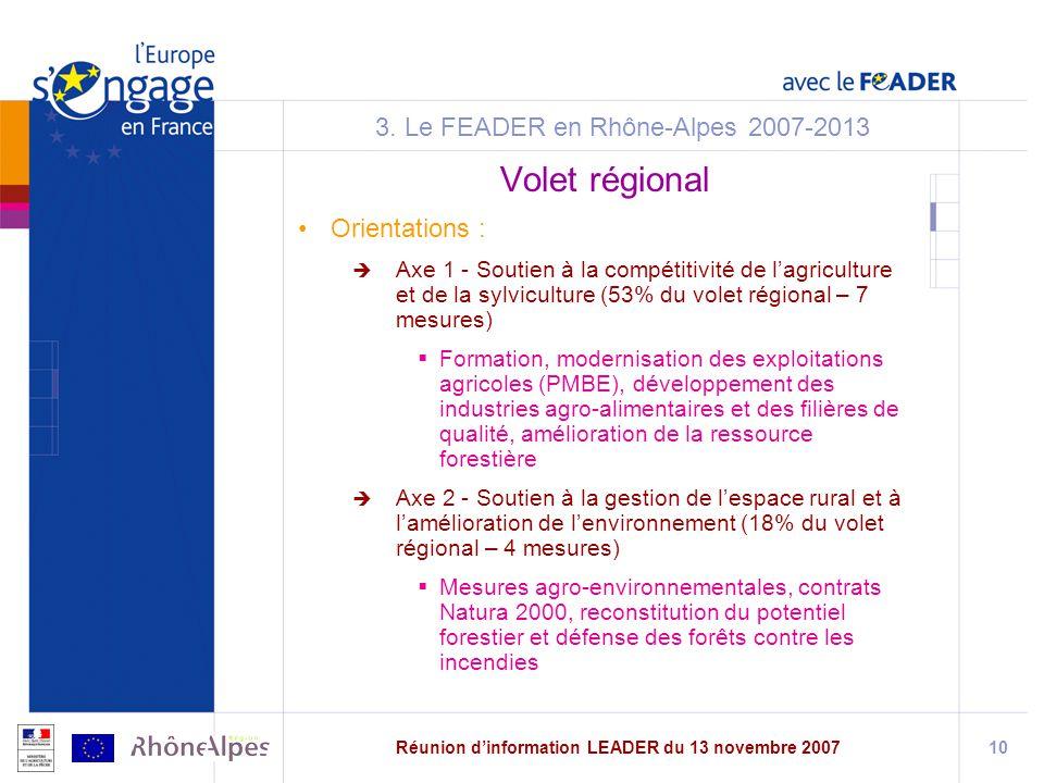 Réunion dinformation LEADER du 13 novembre 200710 3.
