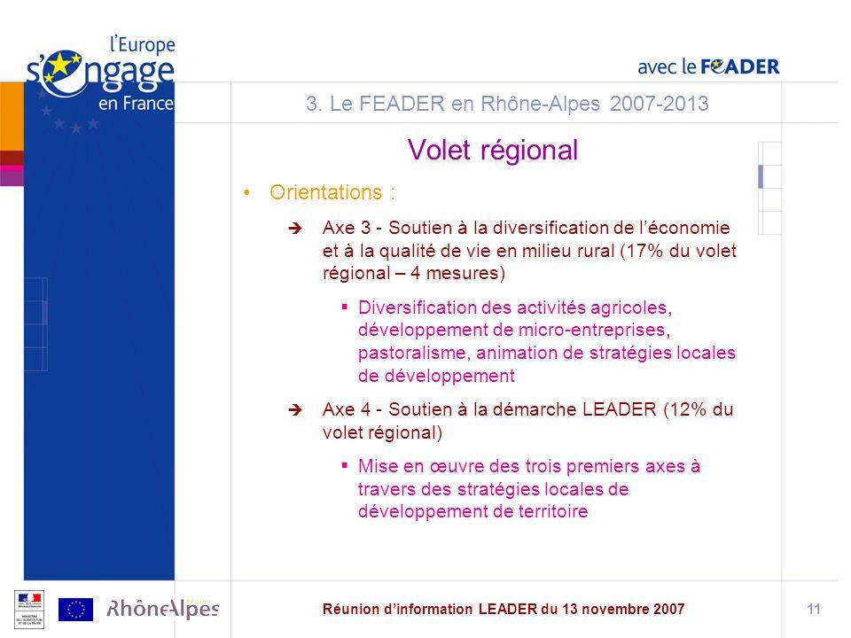 Réunion dinformation LEADER du 13 novembre 200711 3.