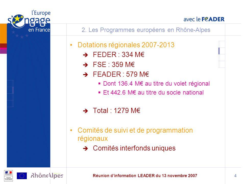Réunion dinformation LEADER du 13 novembre 20074 2.