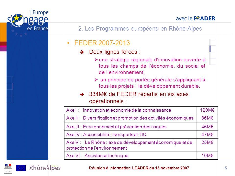 Réunion dinformation LEADER du 13 novembre 20075 2.