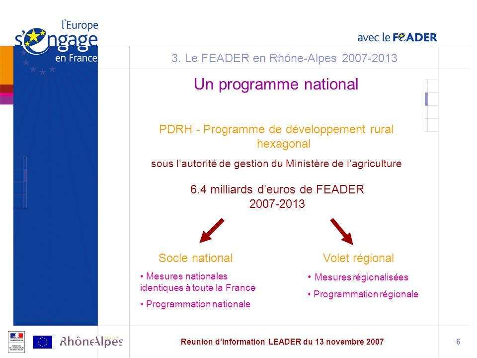 Réunion dinformation LEADER du 13 novembre 20076 3.