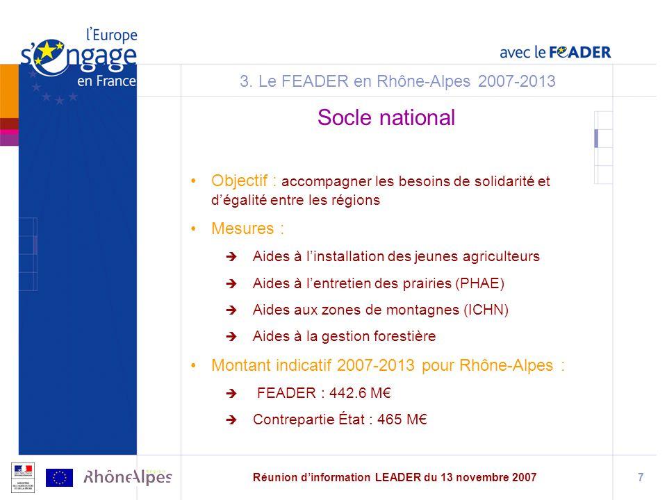 Réunion dinformation LEADER du 13 novembre 20077 3.