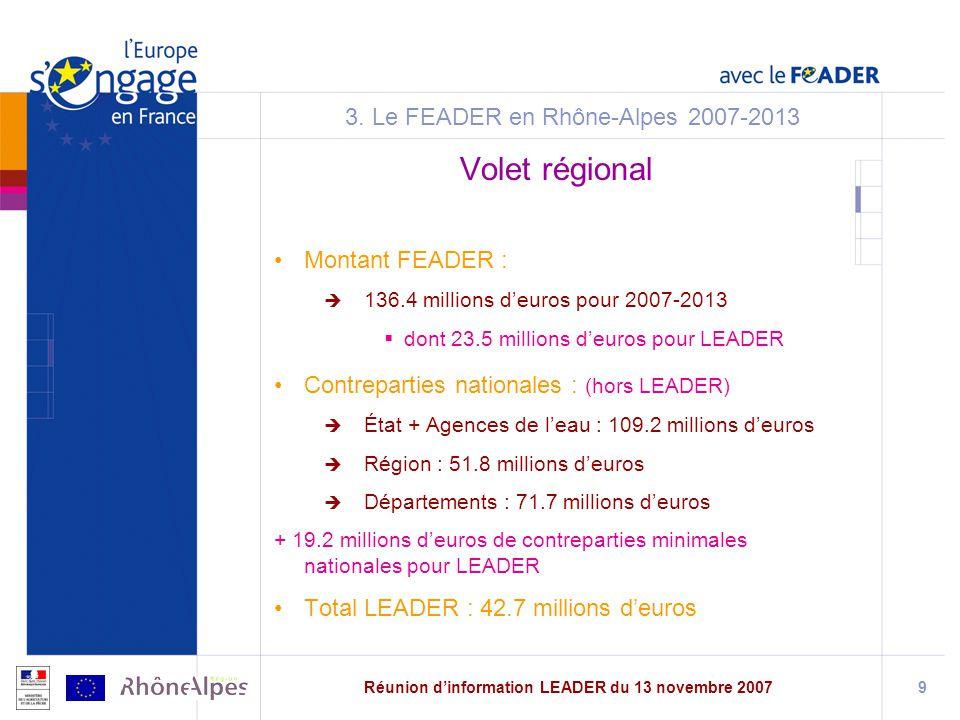 Réunion dinformation LEADER du 13 novembre 20079 3.