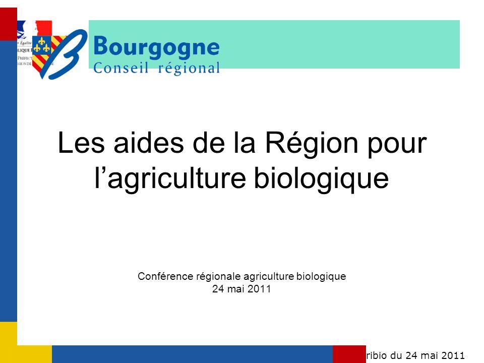 Conférence régionale agribio du 24 mai 2011Bourgogne Les aides de la Région pour lagriculture biologique Conférence régionale agriculture biologique 2