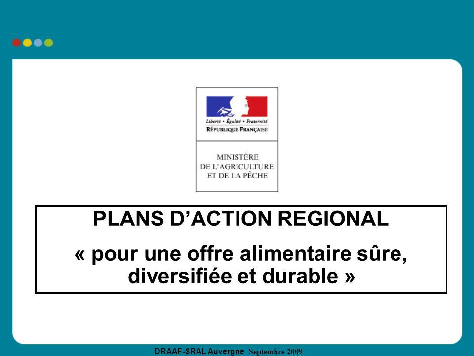 DRAAF-SRAL Auvergne Septembre 2009 PLANS DACTION REGIONAL « pour une offre alimentaire sûre, diversifiée et durable »
