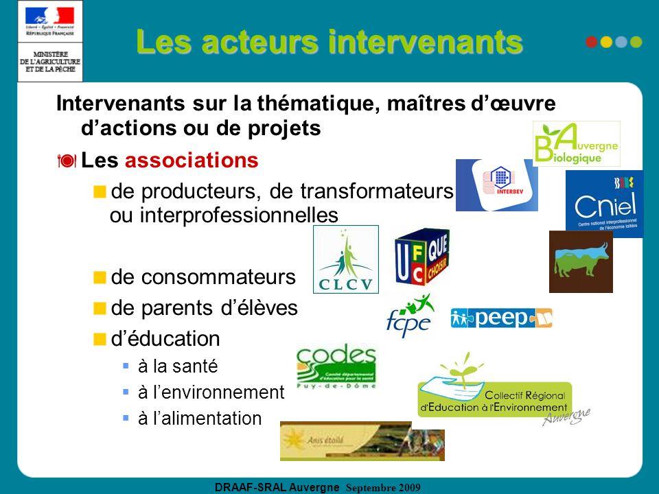 DRAAF-SRAL Auvergne Septembre 2009 Les acteurs intervenants Intervenants sur la thématique, maîtres dœuvre dactions ou de projets Les associations de producteurs, de transformateurs ou interprofessionnelles de consommateurs de parents délèves déducation à la santé à lenvironnement à lalimentation