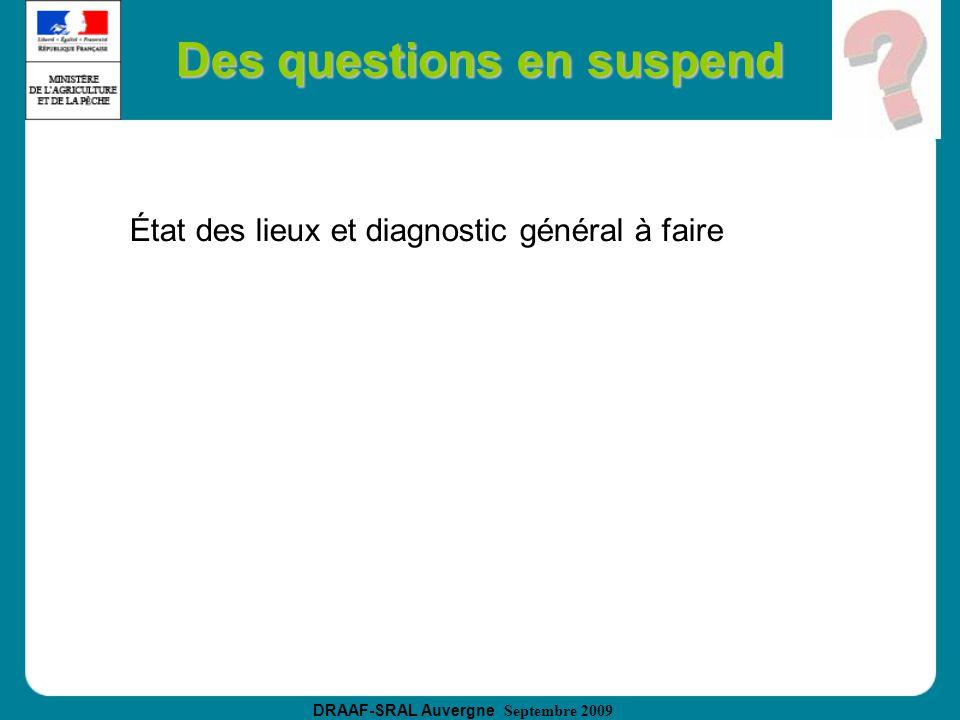 DRAAF-SRAL Auvergne Septembre 2009 Des questions en suspend État des lieux et diagnostic général à faire