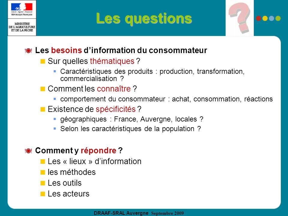 DRAAF-SRAL Auvergne Septembre 2009 Les questions Les besoins dinformation du consommateur Sur quelles thématiques .