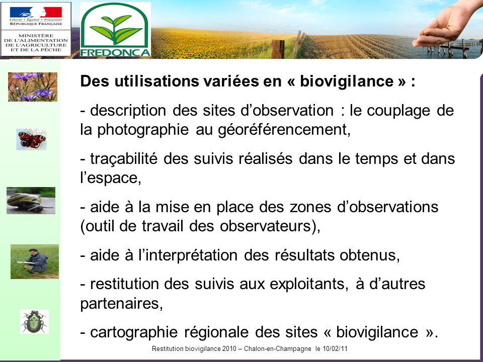 Restitution biovigilance 2010 – Chalon-en-Champagne le 10/02/11 Restitution des suivis aux producteurs