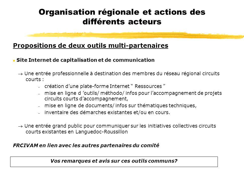 Organisation régionale et actions des différents acteurs Propositions de deux outils multi-partenaires n Site Internet de capitalisation et de communi