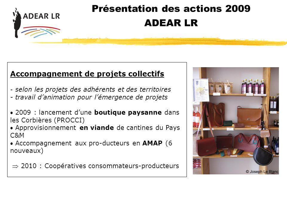Présentation des actions 2009 ADEAR LR Accompagnement de projets collectifs - selon les projets des adhérents et des territoires - travail danimation