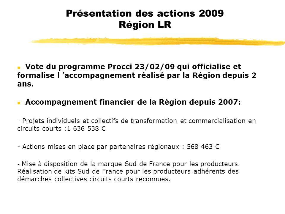 Présentation des actions 2009 Région LR n Vote du programme Procci 23/02/09 qui officialise et formalise l accompagnement réalisé par la Région depuis