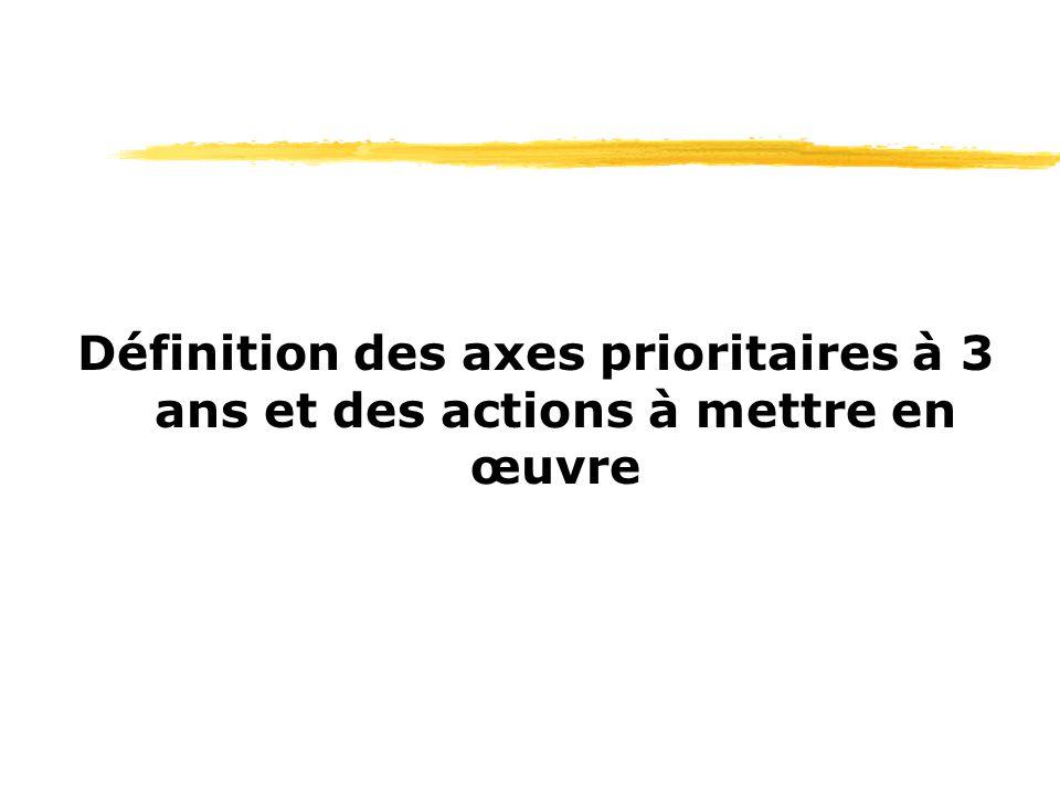 Définition des axes prioritaires à 3 ans et des actions à mettre en œuvre