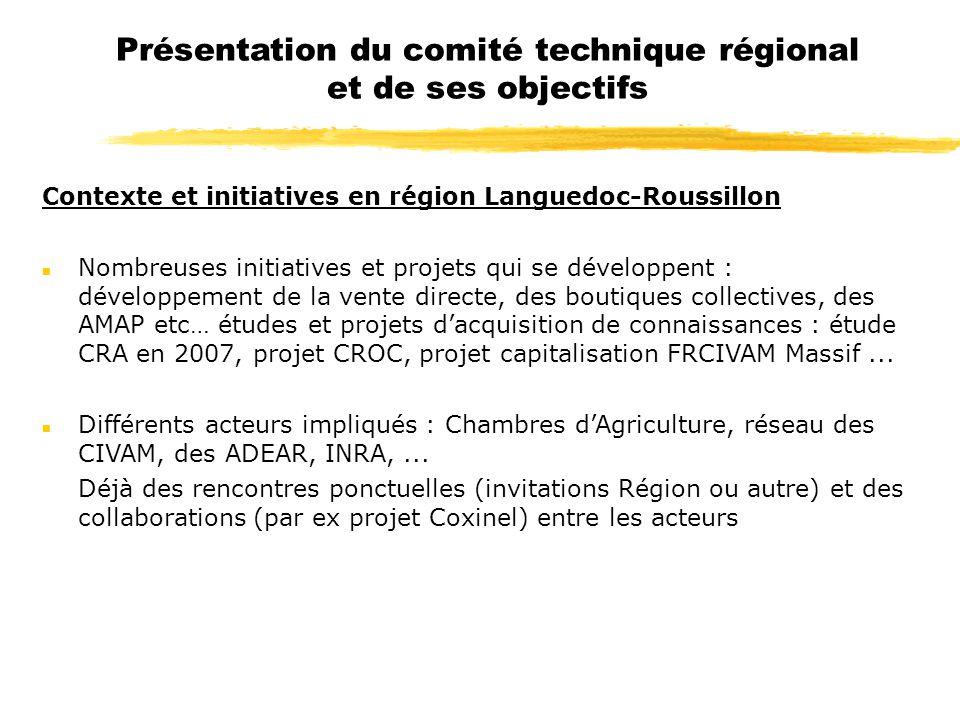 Présentation du comité technique régional et de ses objectifs Contexte et initiatives en région Languedoc-Roussillon n Nombreuses initiatives et proje