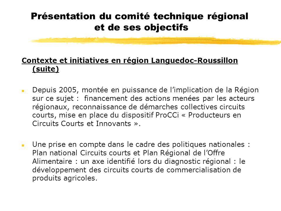 Présentation du comité technique régional et de ses objectifs Contexte et initiatives en région Languedoc-Roussillon (suite) n Depuis 2005, montée en