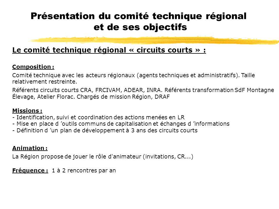 Le comité technique régional « circuits courts » : Composition : Comité technique avec les acteurs régionaux (agents techniques et administratifs). Ta