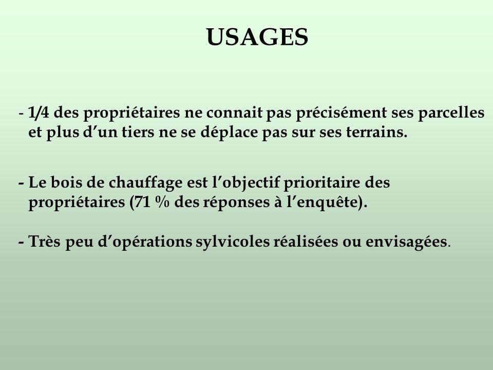 USAGES - 1/4 des propriétaires ne connait pas précisément ses parcelles et plus dun tiers ne se déplace pas sur ses terrains.