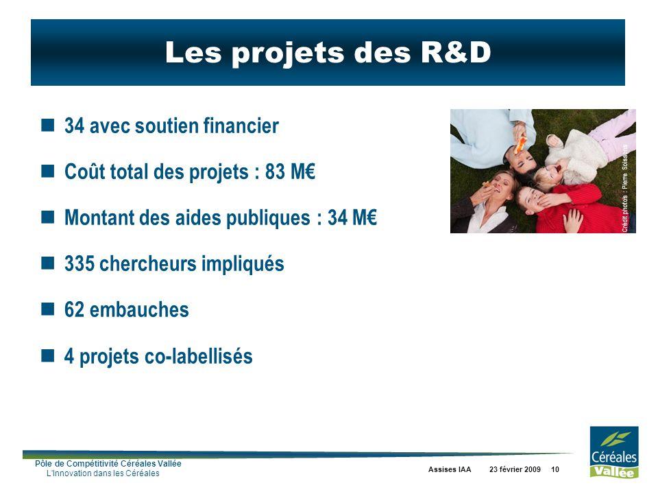 Pôle de Compétitivité Céréales Vallée L'Innovation dans les Céréales Assises IAA 23 février 2009 10 Les projets des R&D 34 avec soutien financier Coût