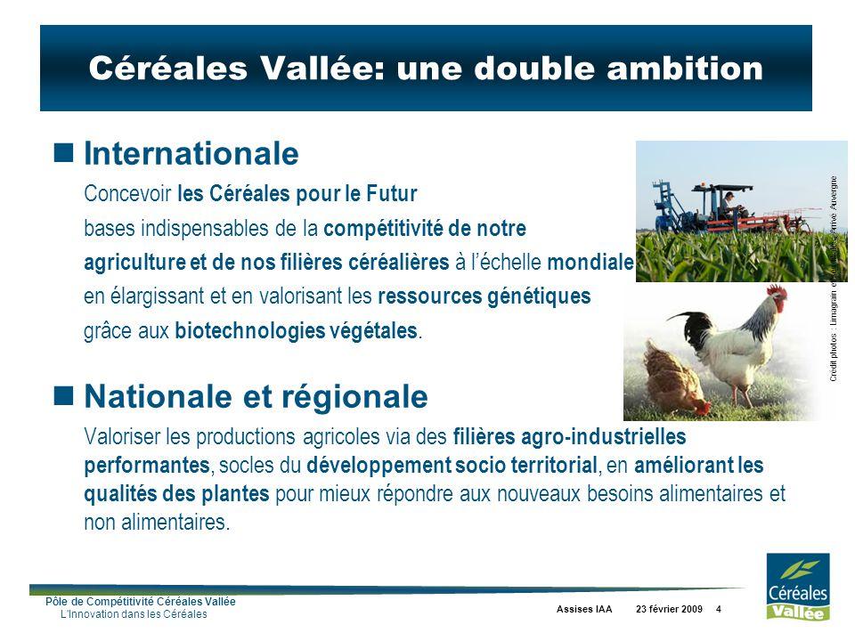Pôle de Compétitivité Céréales Vallée L Innovation dans les Céréales Assises IAA 23 février 2009 4 Céréales Vallée: une double ambition Internationale Concevoir les Céréales pour le Futur bases indispensables de la compétitivité de notre agriculture et de nos filières céréalières à léchelle mondiale en élargissant et en valorisant les ressources génétiques grâce aux biotechnologies végétales.