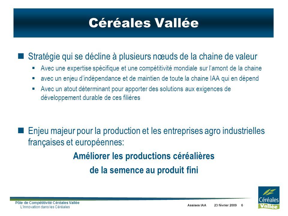 Pôle de Compétitivité Céréales Vallée L'Innovation dans les Céréales Assises IAA 23 février 2009 6 Céréales Vallée Stratégie qui se décline à plusieur