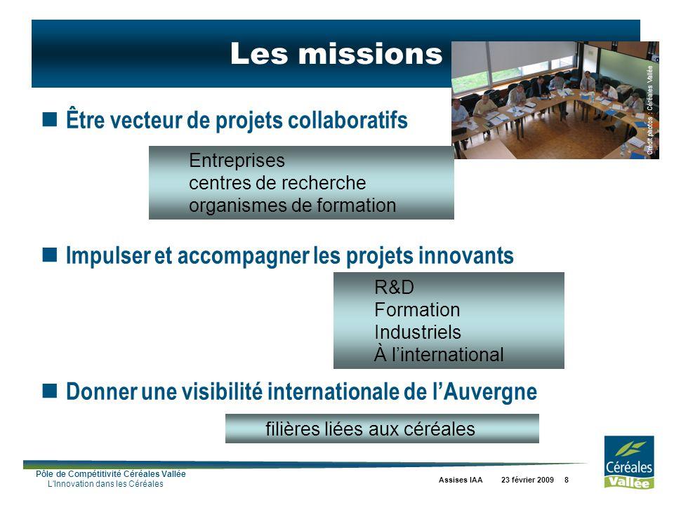 Pôle de Compétitivité Céréales Vallée L'Innovation dans les Céréales Assises IAA 23 février 2009 8 Être vecteur de projets collaboratifs Impulser et a