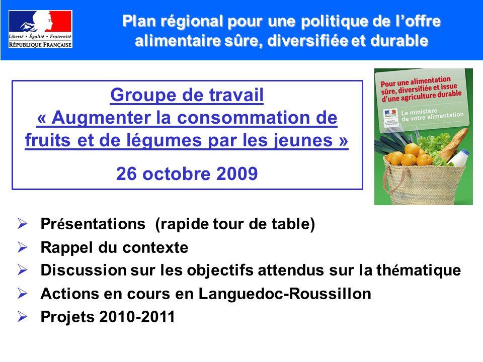 Plan régional pour une politique de loffre alimentaire sûre, diversifiée et durable Groupe de travail « Augmenter la consommation de fruits et de légu