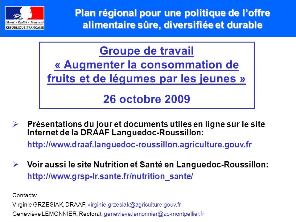 Présentations du jour et documents utiles en ligne sur le site Internet de la DRAAF Languedoc-Roussillon: http://www.draaf.languedoc-roussillon.agricu