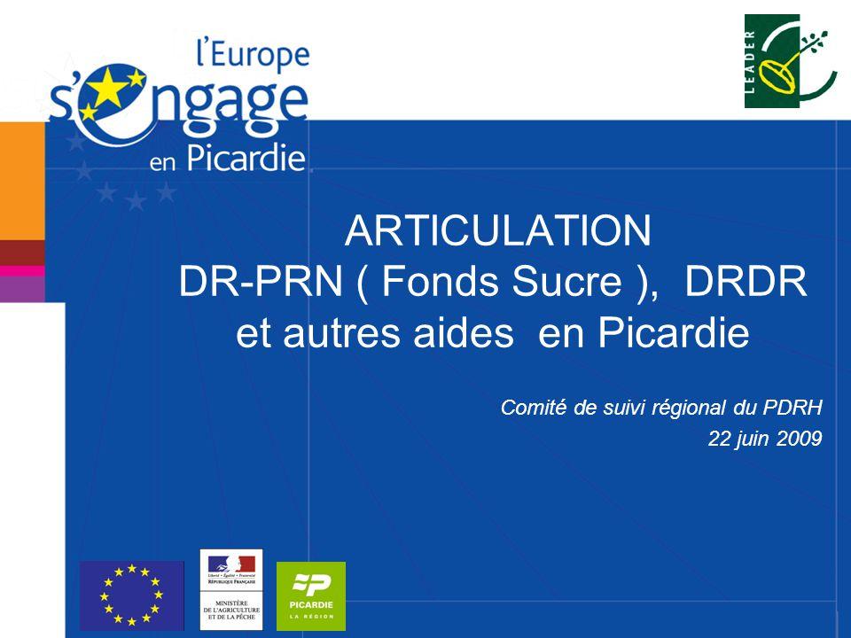 ARTICULATION DR-PRN ( Fonds Sucre ), DRDR et autres aides en Picardie Comité de suivi régional du PDRH 22 juin 2009