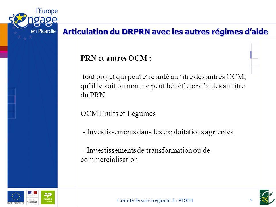 Comité de suivi régional du PDRH6 Articulation du DRPRN avec les autres régimes daide PRN et PDRH Pendant la durée du PRN toute demande qui répond aux critères déligibilité du DR-PRN ne peut être financée au titre du DRDR.