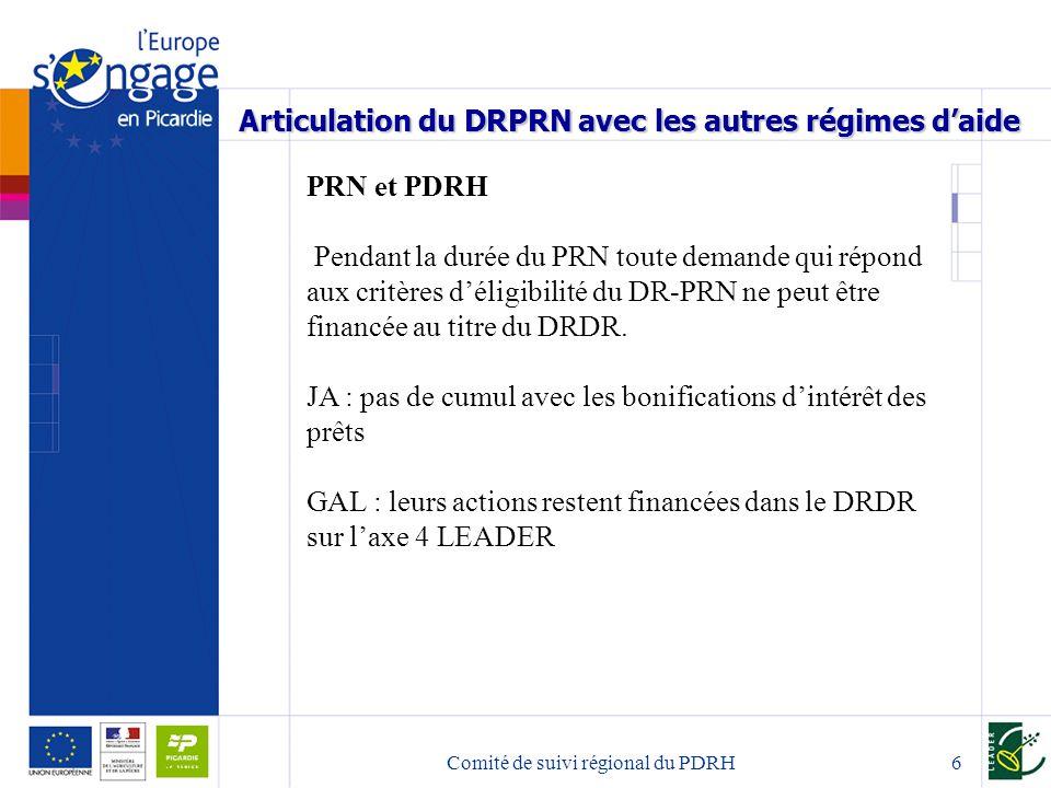 Comité de suivi régional du PDRH7 Articulation du DRPRN avec les autres régimes daide PRN et fonds structurels : Lignes de partage identiques à celles prévues dans le DRDR