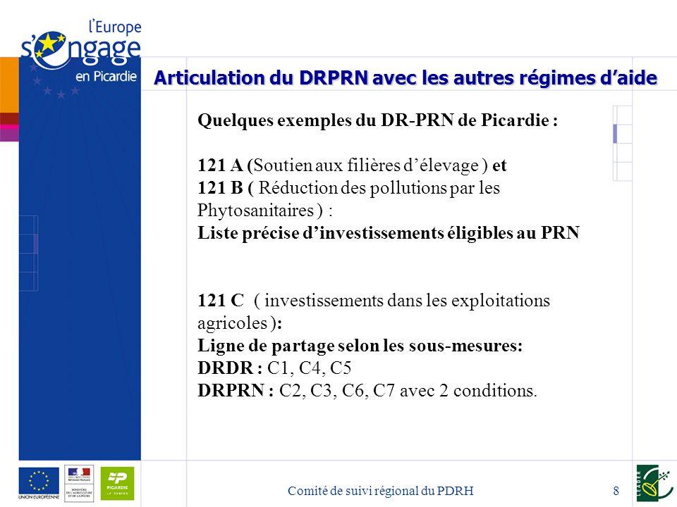 Comité de suivi régional du PDRH8 Articulation du DRPRN avec les autres régimes daide Quelques exemples du DR-PRN de Picardie : 121 A (Soutien aux filières délevage ) et 121 B ( Réduction des pollutions par les Phytosanitaires ) : Liste précise dinvestissements éligibles au PRN 121 C ( investissements dans les exploitations agricoles ): Ligne de partage selon les sous-mesures: DRDR : C1, C4, C5 DRPRN : C2, C3, C6, C7 avec 2 conditions.