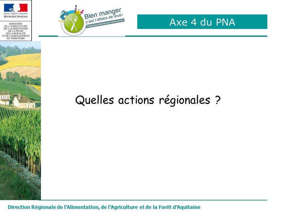 Axe 4 du PNA Direction Régionale de lAlimentation, de lAgriculture et de la Forêt dAquitaine Quelles actions régionales ?